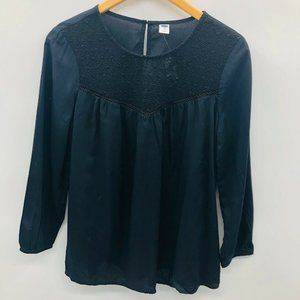 Old Navy Relaxed Lace Yoke Top Blouse Black 768
